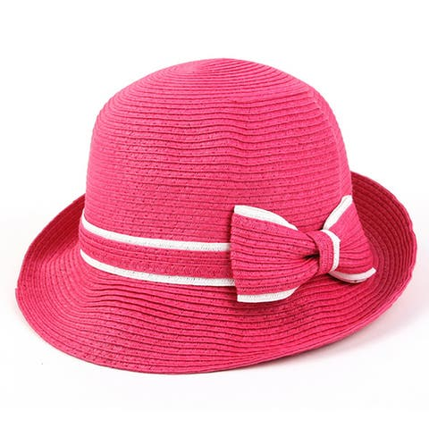 Pop Fashionwear Women's Classic Straw Cloche Bow Hat