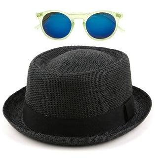 Pop Fashionwear Unisex Porkpie Straw Fedora hat with Free Sunglasses