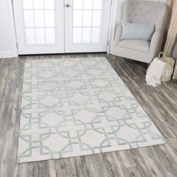Rizzy Home Hand-tufted Idyllic Natural Wool Interlocking Circles Area Rug - 9' x 12'