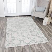 Rizzy Home Hand-tufted Idyllic Natural Wool Interlocking Circles Area Rug (9' x 12') - 9' x 12'