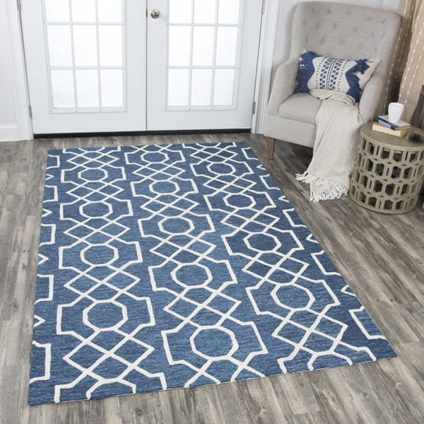 Rizzy Home Idyllic Dark Blue Wool Hand-tufted Geometric Area Rug (9' x 12') - 9' x 12'