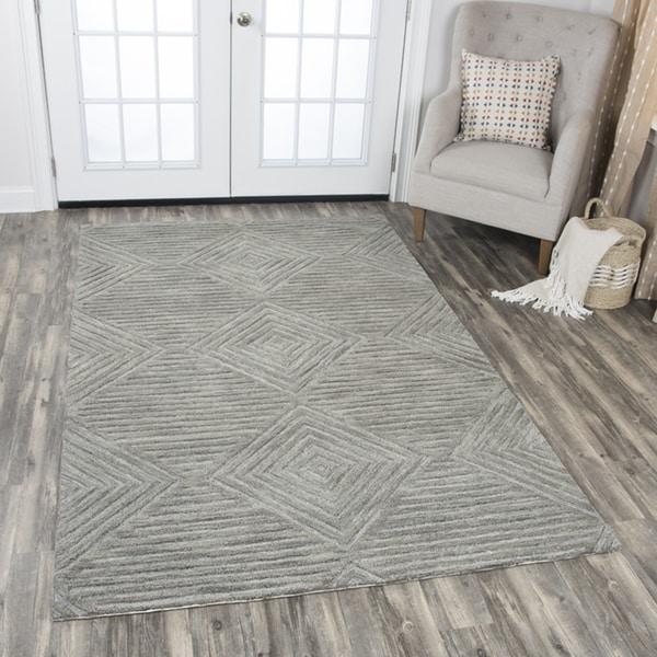 Idyllic Solid Grey Wool Hand-tufted Geometric Area Rug (9' x 12') - 9' x 12'