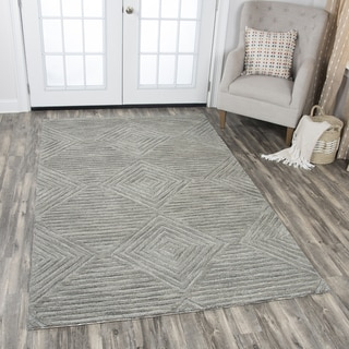 Idyllic Solid Grey Wool Hand-tufted Geometric Area Rug (9' x 12')