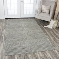 Idyllic Solid Grey Wool Hand-tufted Geometric Area Rug (9' x 12') - 9' x 12'