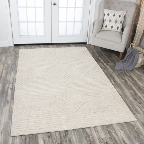 Idyllic Solid Natural Wool Hand-Tufted Area Rug (9' x 12') - 9' x 12'