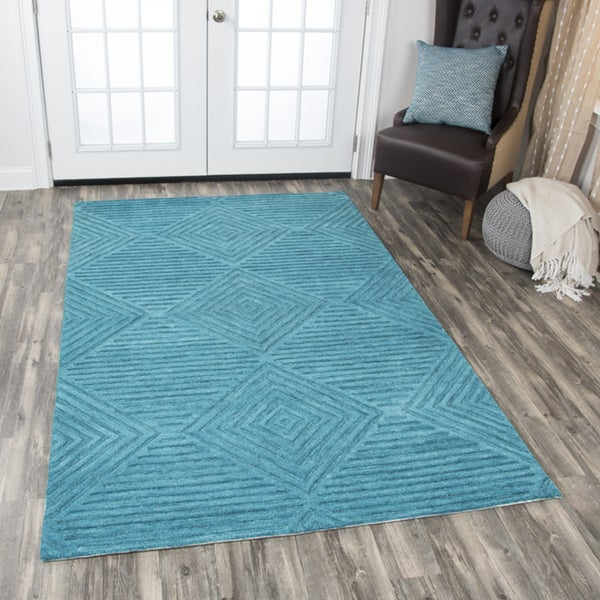 Rizzy Home Teal Wool Hand-tufted Solid Area Rug (8' x 10') - 8' x10'