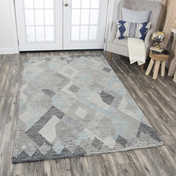 Rizzy Home Idyllic Natural Wool Hand-tufted Geometric Area Rug - 9' x 12'