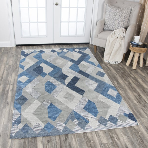 Rizzy Home Blue Wool Hand-tufted Geometric Area Rug - 8' x10'