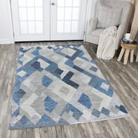Rizzy Home Idyllic Blue/Grey Wool Hand-tufted Geometric Area Rug - 9' x 12'