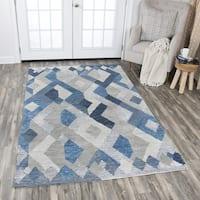 Rizzy Home Idyllic Blue/Grey Wool Hand-tufted Geometric Area Rug - 9' x 12'
