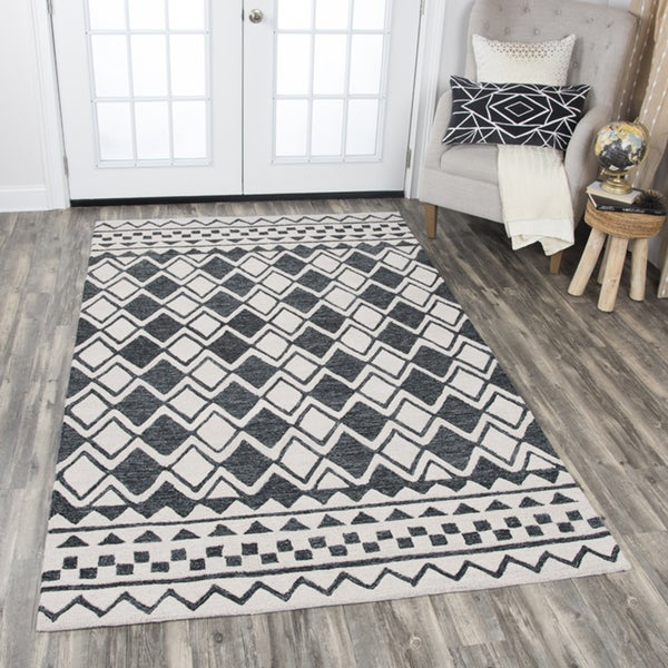 Rizzy Home Grey/Beige Wool Hand-tufted Geometric Area Rug (8' x 10') - 8' x10'