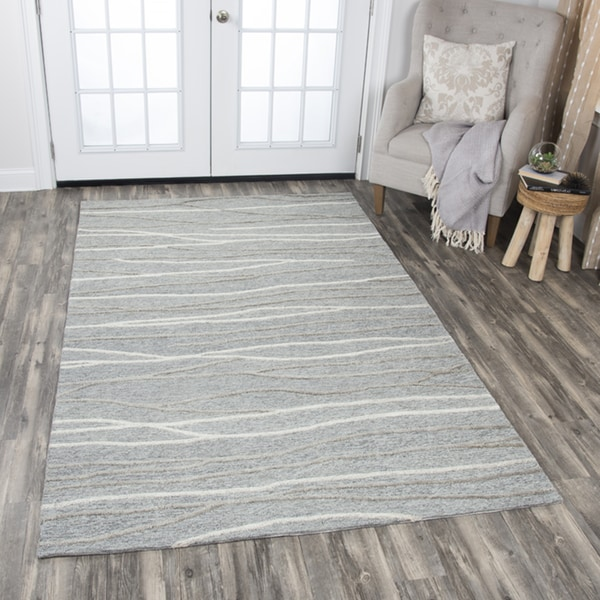 Rizzy Home Hand-tufted Idyllic Grey Wool Lines Area Rug (8' x 10') - 8' x10'
