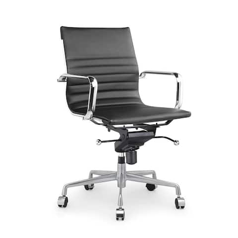 Design Lab MN Decade Ribbed Leather Office Chair (Set of 2)