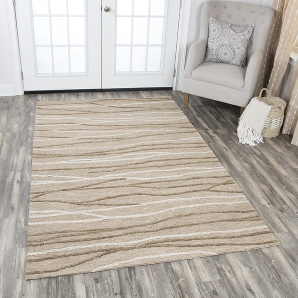Rizzy Home Hand-tufted Idyllic Natural Wool Lines Area Rug - 9' x 12'