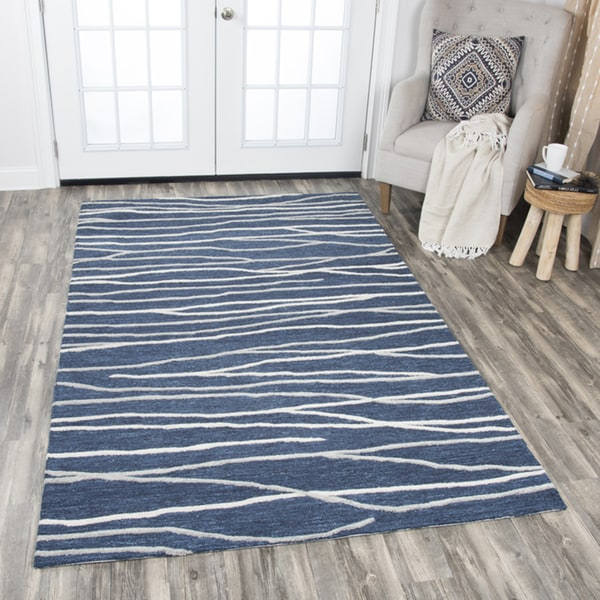 Rizzy Home Hand-tufted Idyllic Navy Wool Lines Area Rug (8' x 10') - 8' x10'