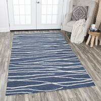 Rizzy Home Hand-tufted Idyllic Navy Wool Lines Area Rug - 9' x 12'