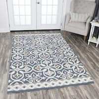 Rizzy Home Hand-tufted Opulent Blue/Grey Wool Medallion Area Rug (9' x 12') - 9' x 12'