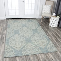 Rizzy Home Hand-tufted Opulent Light Blue Wool Medallion Area Rug (8' x 10') - 8' x10'
