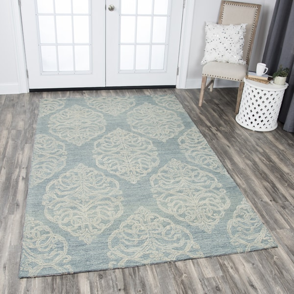 Hand-tufted Opulent Light Blue Wool Medallion Area Rug - 9' x 12'