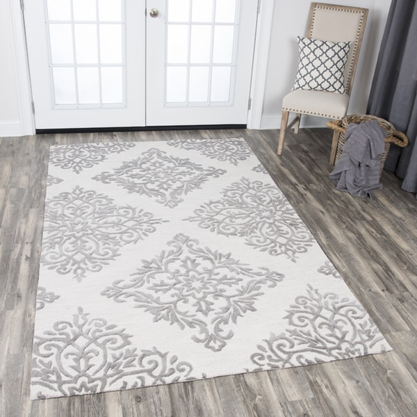 Rizzy Home Grey/Beige Wool Hand-tufted Medallion Area Rug (8' x 10') - 8' x10'