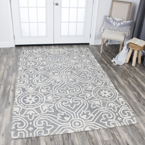 Rizzy Home Opulent Medallion Grey Wool Hand-tufted Area Rug - 8' x 10'