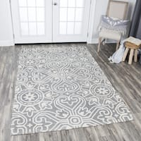 Rizzy Home Opulent Grey Wool Hand-tufted Medallion Area Rug (9' x 12') - 9' x 12'