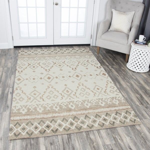 Rizzy Home Hand-tufted Opulent Natural Wool Geometric Area Rug - 9'x12'