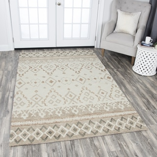 Rizzy Home Hand-tufted Opulent Natural Wool Geometric Area Rug (9'x12')