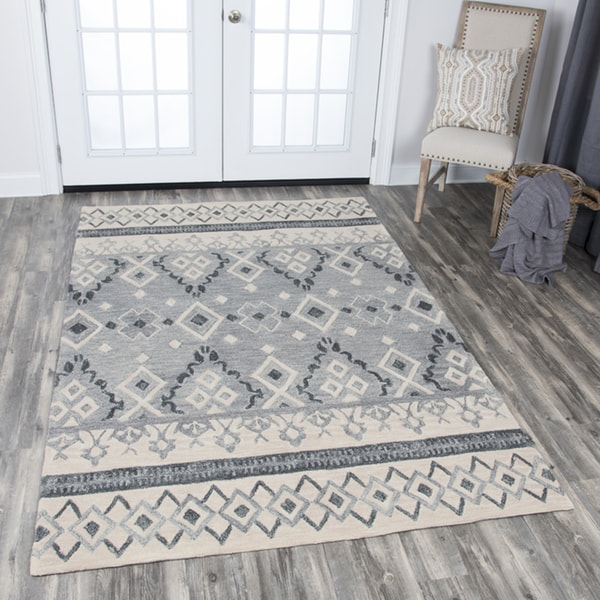 Rizzy Home Hand-tufted Opulent Natural Wool Tribal Motif Area Rug (8' x 10') - 8' x10'