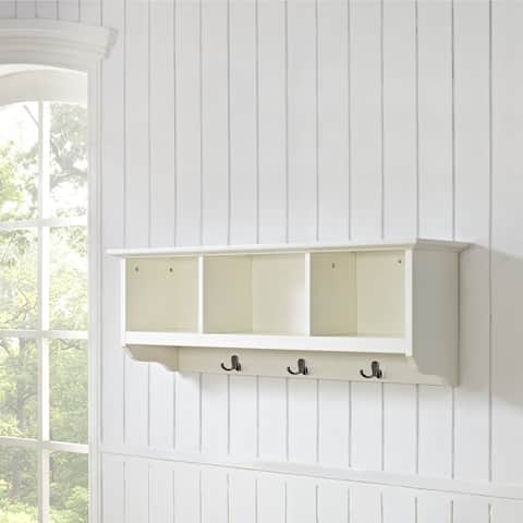Brennan White Wood Entryway Storage Shelf