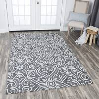 Rizzy Home Hand-tufted Opulent Grey Wool Medallion Area Rug - 8' x 10'