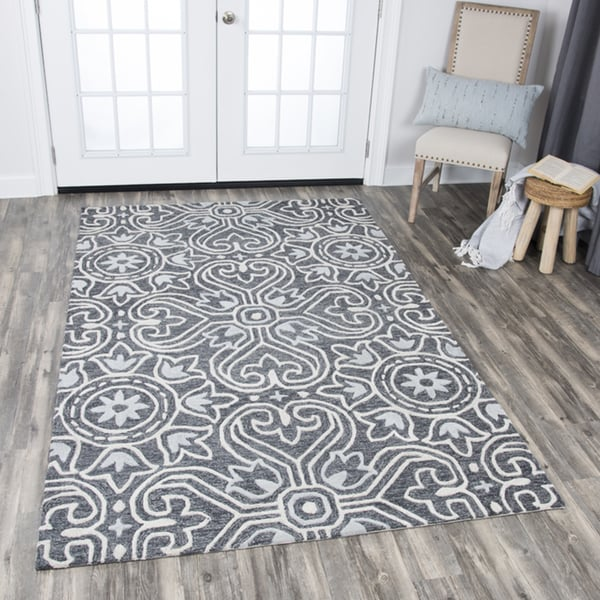 Hand-tufted Opulent Gray Wool Medallion Area Rug - 9' x 12'
