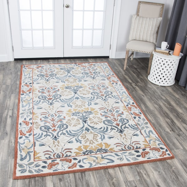 Rizzy Home Hand-tufted Opulent Natural Wool Floral Area Rug (8' x 10') - 8' x10'