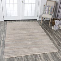 Wynwood Grey 25 Percent Cotton Strips Hand-woven Area Rug (7' x 10') - 7' x 10'