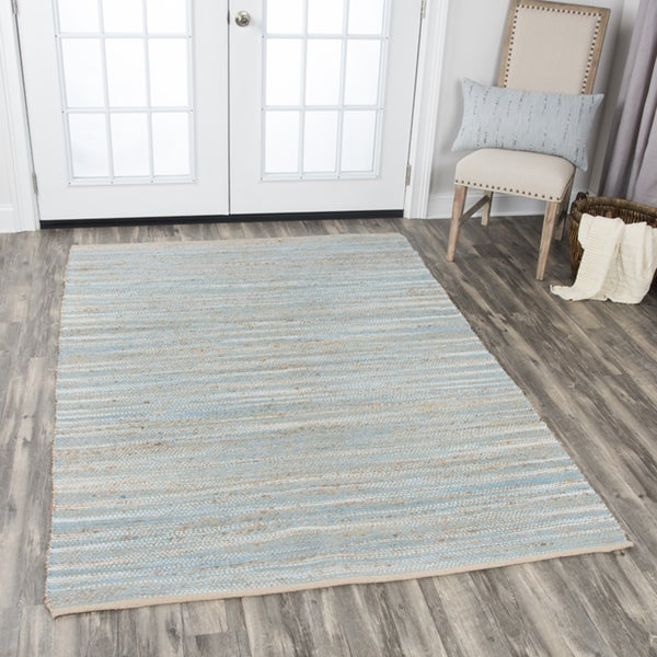 Rizzy Home Wynwood Blue Cotton Handwoven Area Rug (7' x 10') - 7' x 10'