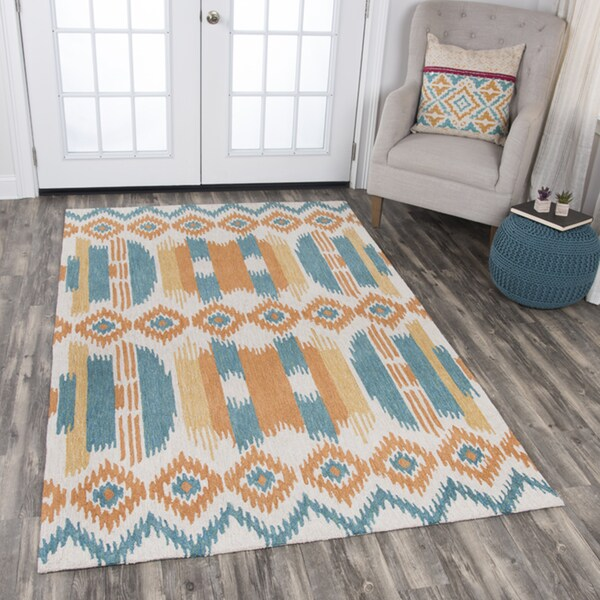 Rizzy Home Zingaro Orange/Natural/Teal Wool Strips/Ikat Area Rug (8' x 10') - 8' x10'