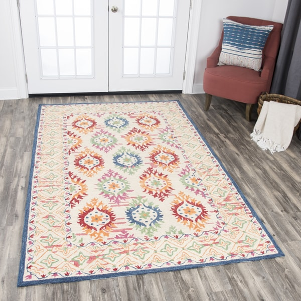 Rizzy Home Zingaro Multicolored Wool Hand-tufted Medallion Area Rug (8' x 10') - 8' x10'