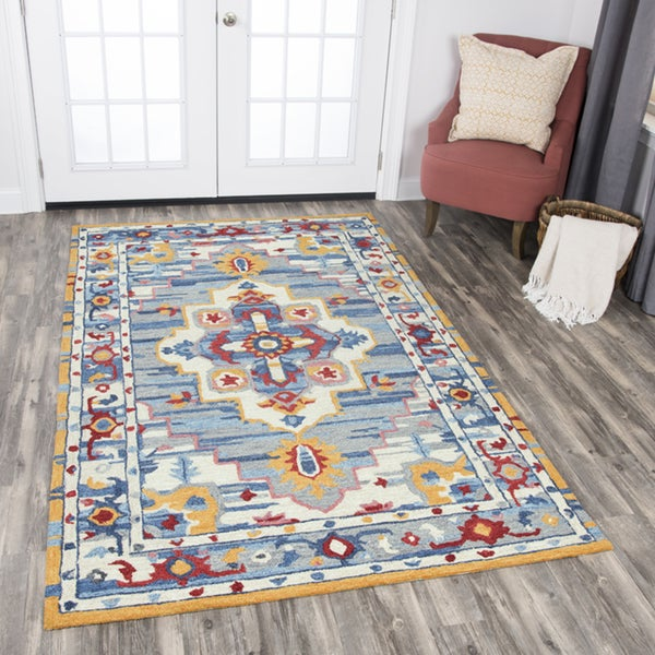 Rizzy Home Zingaro Natural Wool Central Medallion Area Rug - 8' x10'