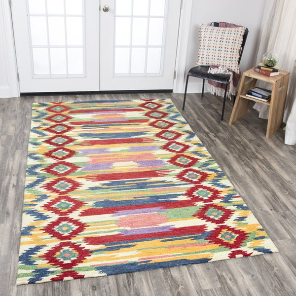 Rizzy Home Zingaro Multicolored Stripes/ Ikat Natural Wool Area Rug (8' x 10') - 8' x10'
