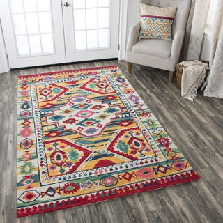Rizzy Home Zingaro Natural/Multcolored Wool Motif Hand-tufted Area Rug (8' x 10')