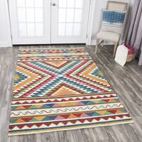 Rizzy Home Zingaro Red/Blue/Gold Wool Hand-tufted Area Rug - 9' x 12'