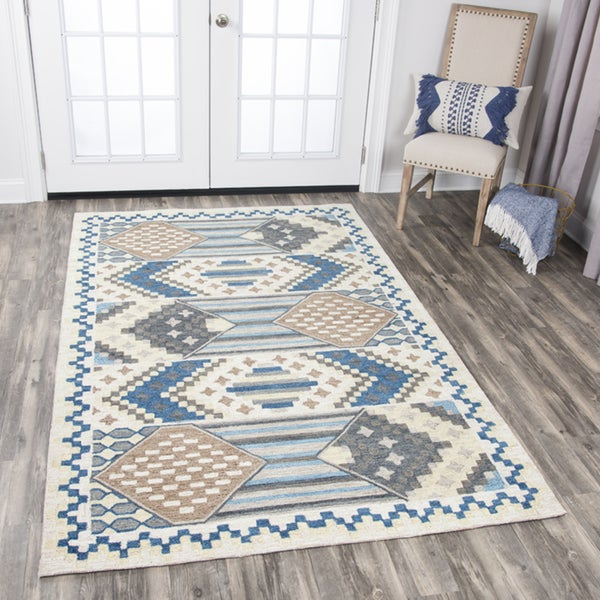 Rizzy Home Zingaro Blue Diamonds/Stripes Hand-tufted Wool Area Rug - 9' x 12'