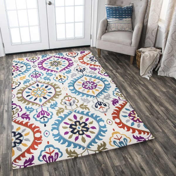 Rizzy Home Zingaro Ivory Wool Hand-tufted Medallion Area Rug - 9' x 12'