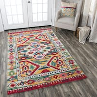 Rizzy Home Multicolored Wool Hand-tufted Motif Area Rug - 9' x 12'