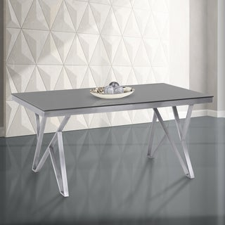 Armen Living Mirage Grey Tempered Glass and Brushed Stainless Steel Dining Table