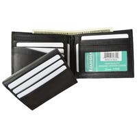 Swiss Marshal Black Leather Bifold Removable Flip Up ID Window Wallet