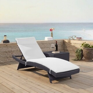 Biscayne Brown Resin Wicker White Cushion Chaise Lounge