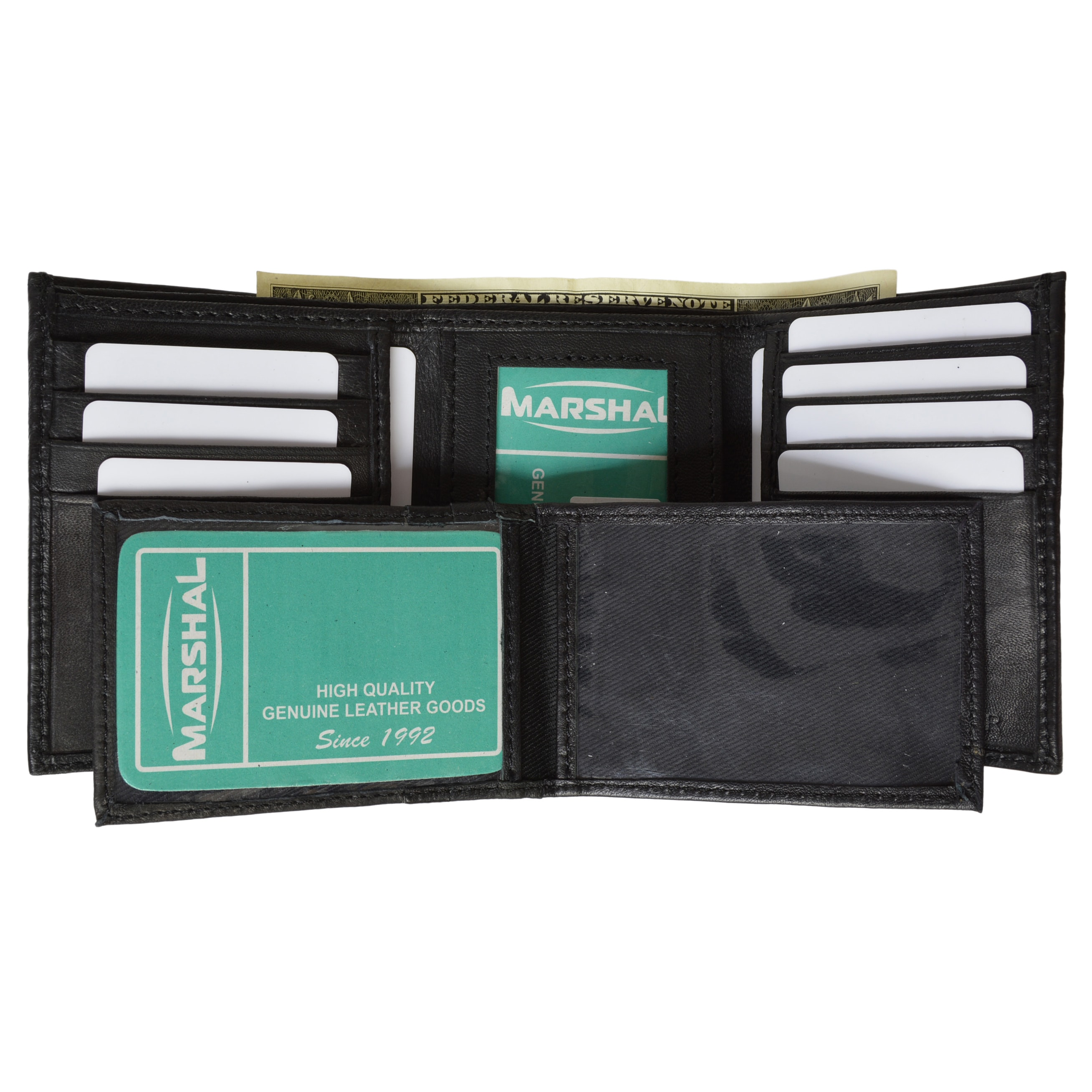 Mens Trifold Flip Down Genuine Leather Wallet by marshal wallet