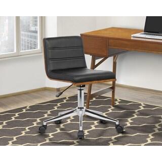 Armen Living Bowie Walnut/Chrome/Black Faux-leather Mid-century Office Chair