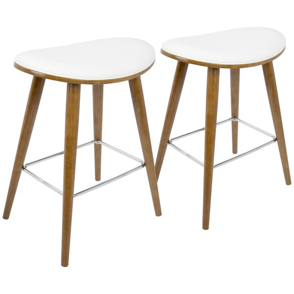 Lumisource White And Brown Wood Saddle Counter Stool Set